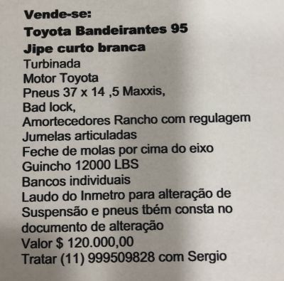 Vende-se Jipe Toyota Band